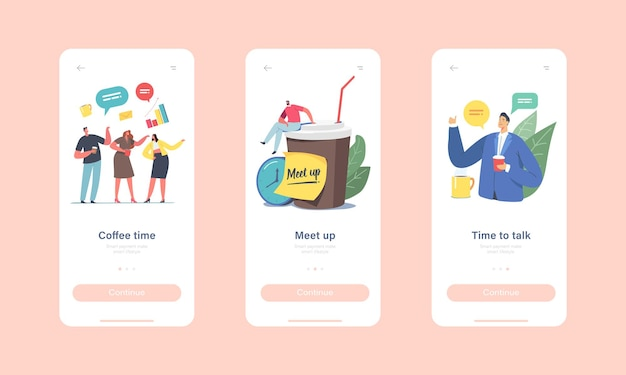 Colleagues meetup mobile app page onboard screen template. businesspeople characters company employees coffee break, people communicating, chatting, spending time concept. cartoon vector illustration