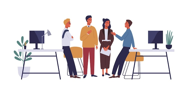 Colleagues in office flat vector illustration