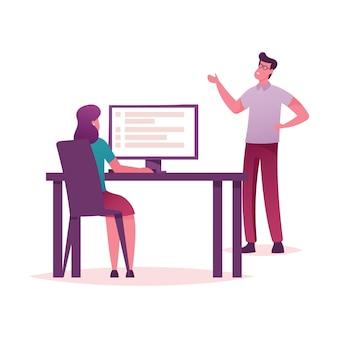 Colleagues organize priorities, teamwork, brainstorming working process in office.
