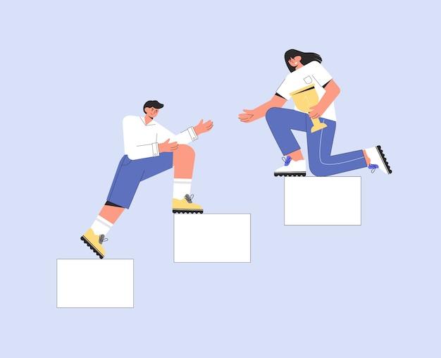 Коллеги партнеры помогают друг другу в бизнесе. мужчина и женщина поднимаются по лестнице и держат кубок.
