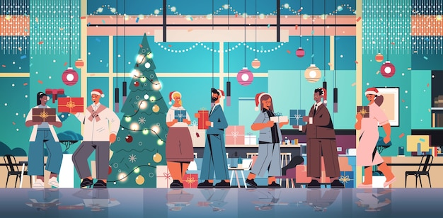 Colleagues in santa hats holding gifts mix race coworkers celebrating new year and christmas holidays office interior horizontal full length vector illustration