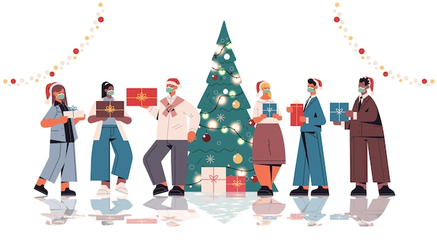 Colleagues in santa hats holding gifts mix race office workers celebrating new year and christmas holidays horizontal full length isolated vector illustration