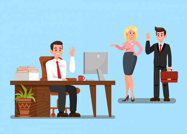 Colleagues at work cartoon vector illustration