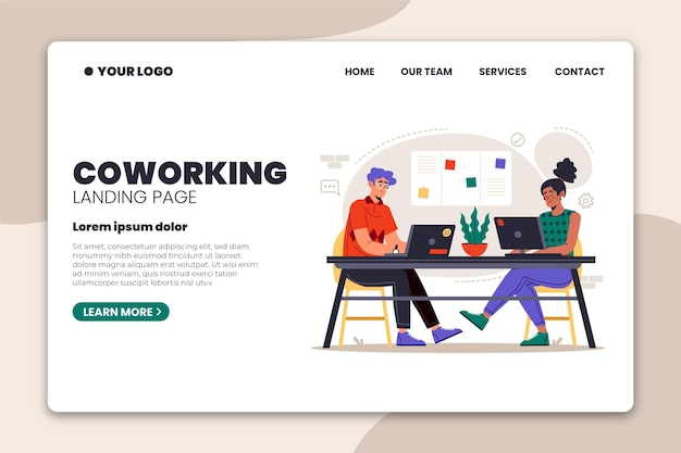 Colleagues at work coworking landing page