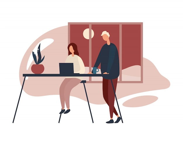 Colleagues working in office at night.  illustration