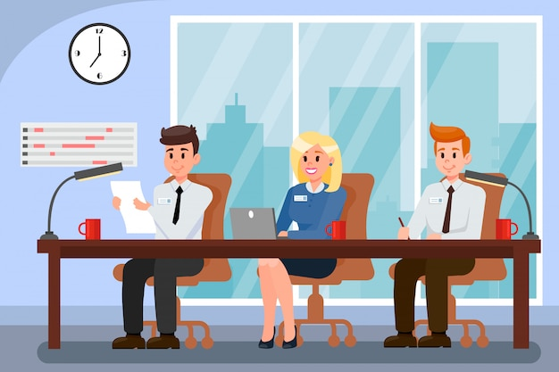 Colleagues working in office vector illustration