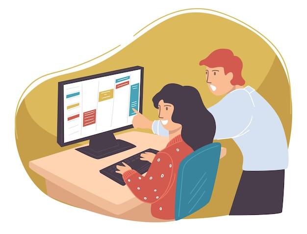 비즈니스 프로젝트에서 함께 일하는 동료, 사무실에서 남자와 여자. 시간 관리 또는 작업 제공을 위해 노트북을 사용하는 사람들. 직장 문제를 다루는 직원과 상사. 평면 스타일의 벡터