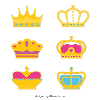 Collecction of colorful crowns