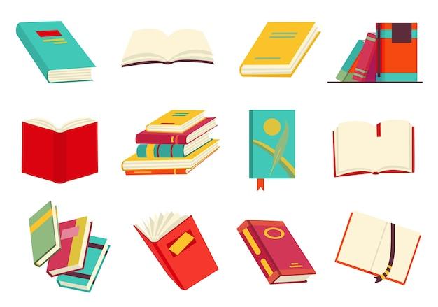 Сбор различных книг, стопка книг, тетрадь. читать, учиться и получать образование с помощью книг. прочтите больше книг. рисованной образовательной. плоский стиль дизайна.