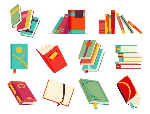 다양한 책, 책 더미, 노트북의 수집.