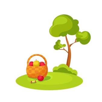 Соберите яблоки в корзину. векторные иллюстрации шаржа.