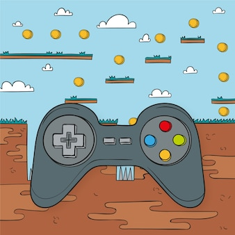 Collect the coins with controller video game concept