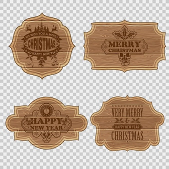 Collect retro wooden frames with christmas labels. vector illustration isolated on transparent background