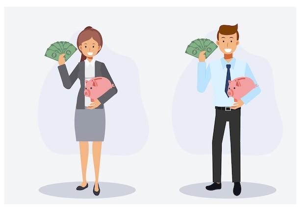 収集、お金の節約の概念。男性と女性のセットは幸せで、貯金箱も持っている片手にたくさんの紙幣を示しています。フラットベクトル2d漫画のキャラクターのイラスト。