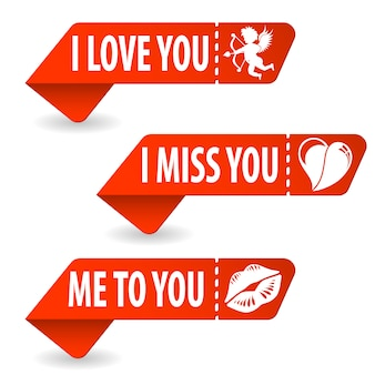 Collect valentines day signs banner set