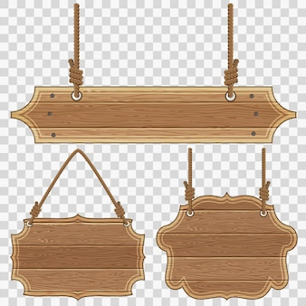 Collect wooden board frames with ropes and knots. vector illustration isolated on transparent background