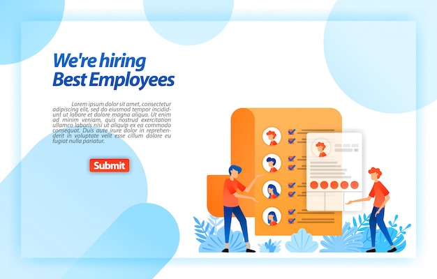 Collect worker personal data or job seeker resumes to recruiting best prospective employees. we're hiring. landing page web template