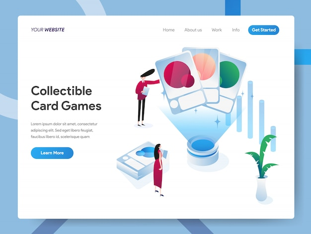 Collectible card games isometric illustration for website page