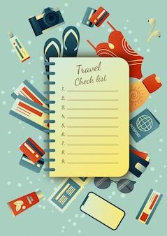 旅行中にスーツケースを収集:服、書類、備品。旅行のもの。夏休みの計画、観光。カラフルなトレンディなイラスト。フラットなデザイン。図