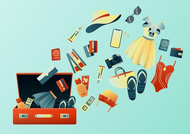 旅行中にスーツケースを収集:服、書類、備品。旅行のもの。夏休みの計画、観光。カラフルなトレンディなイラスト。フラットなデザイン。