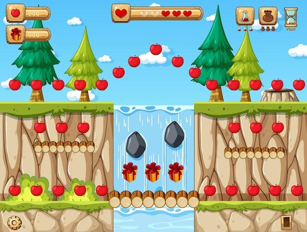Шаблон игры-платформер collecting apples