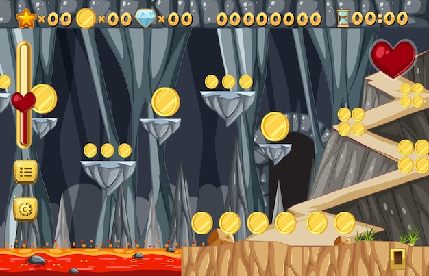 Collecting coins platform game template