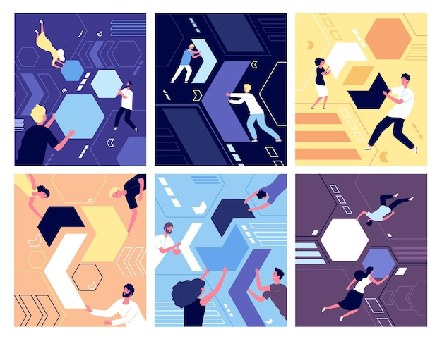 Collecting geometric shapes. people shaping puzzles. success partnership, abstract working characters and leadership. team vector concept. collect abstract puzzle form, businessman work illustration