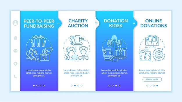 Collecting money event ideas onboarding vector template. responsive mobile website with icons. web page walkthrough 4 step screens. donation kiosk, auction color concept with linear illustrations