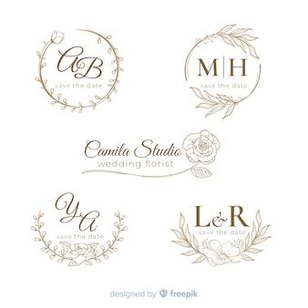 Ручной обращается свадебный логотип collectio