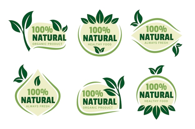 Collection of 100% natural green badge
