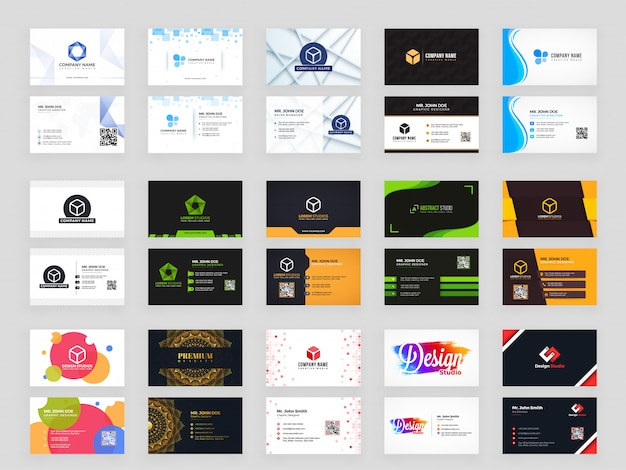Collection of 15 horizontal business card template design