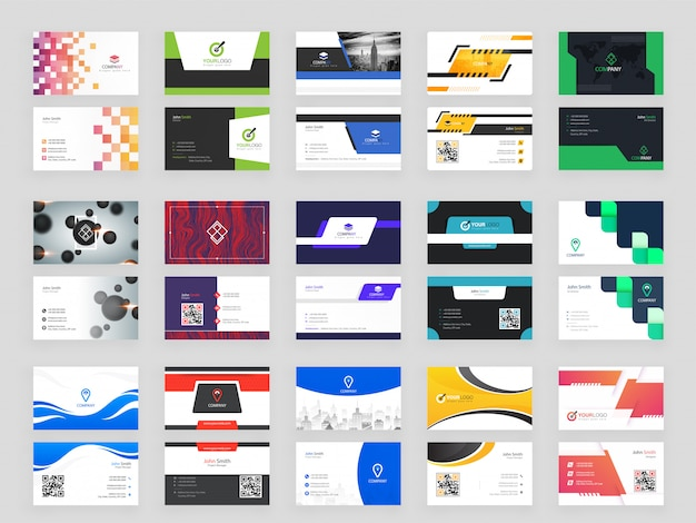 Collection of 15 modern horizontal business card