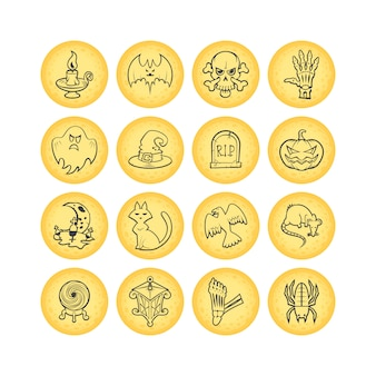 Collection of 16 circle sketch halloween icons.  illustration.