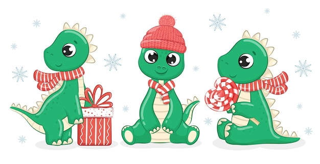 A collection of 3 cute dinosaurs for the new year. vector cartoon illustration.