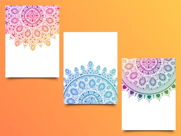 Collection of 3 different color mandala pattern.