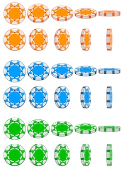 Collection of 3d colored casino chips,   animation game rotation