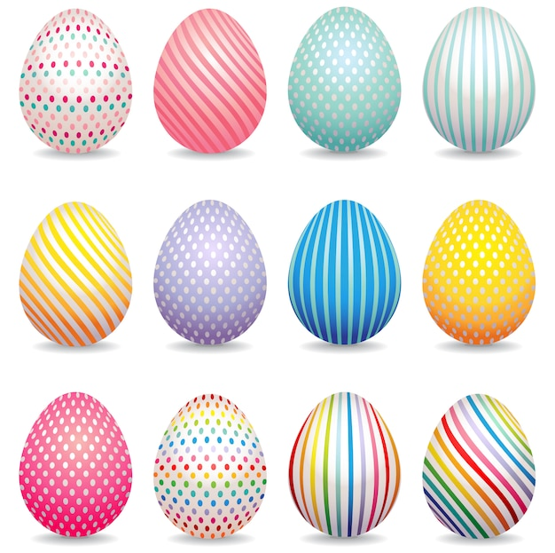 Collection of 3d decorated easter eggs