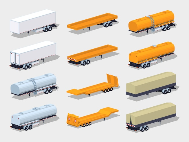 Collection of 3d lowpoly isometric semitrailers