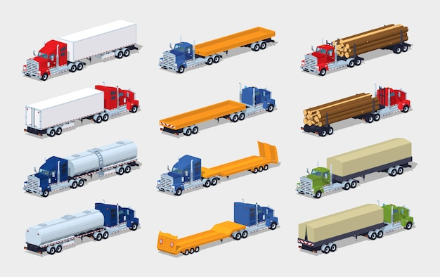 Collection of 3d lowpoly isometric trucks with semitrailers