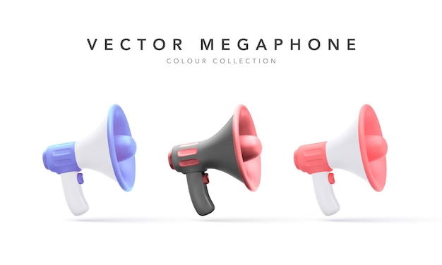 Collection of 3d plastic megaphones with shadow isolated on white background.  illustration