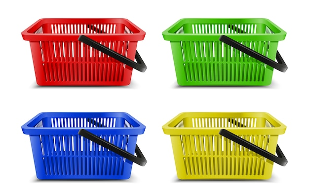 Collection of 3d realistic vector supermarket  food carts plastic empty baskets with black handle.