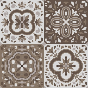 Collection of 4 ceramic tiles in vintage style with scratches, pastel color palette.