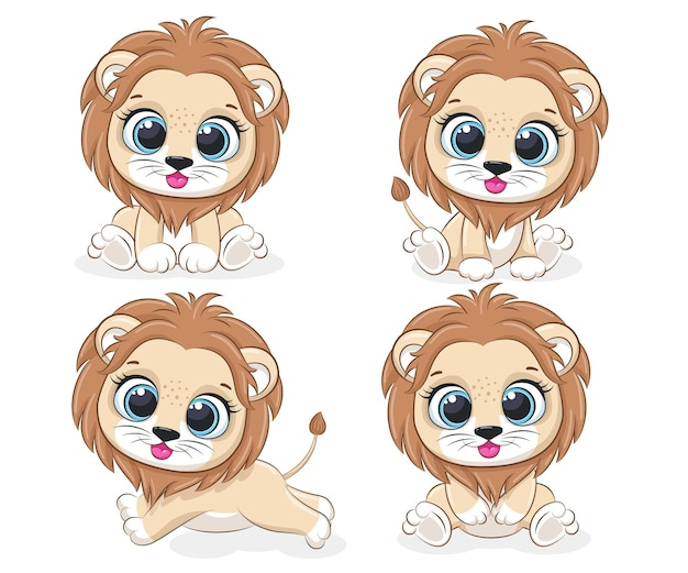 A collection of 4 cute lion cubs. vector cartoon illustration.