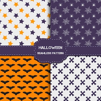 Collection of 4 halloween patterns with endless texture. vector background can be used for wallpaper, fills, web page,surface, scrapbook,  holiday card, invitation and party design.