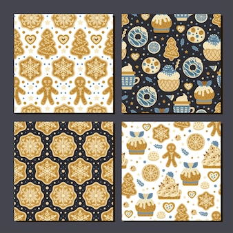 Collection of 4 seamless prints cookies pattern
