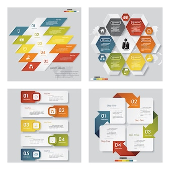 Collection of 4 various color design template
