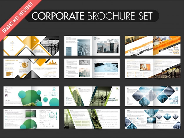 Collection of 6� brochures with four pages design template.