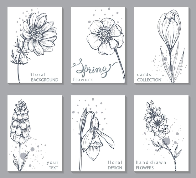 Collection of 6 cards with hand drawn spring flowers.
