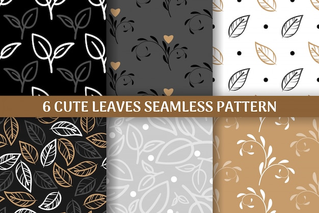 Collection of 6 cute leaves seamless pattern.
