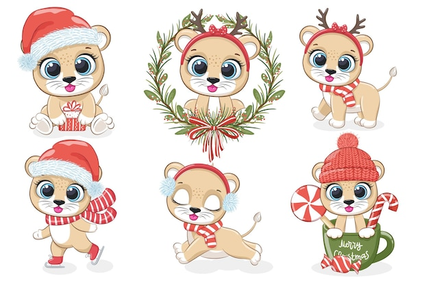 A collection of 6 cute lion cubs for new year and christmas. vector illustration from a cartoon.